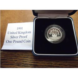 1991 UNITED KINGDOM SILVER PROOF 1 POUND COIN
