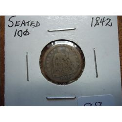 1842 SEATED LIBERTY DIME