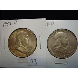 1953-D & 59-D FRANKLIN HALF DOLLARS