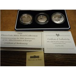 1994 3 COIN SILVER PROOF SET SEE DESCRIPTION