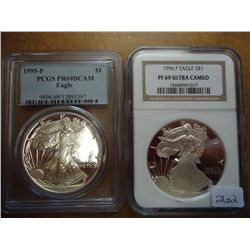 1995 & 96 AMERICAN SILVER EAGLES PCGS & NGC