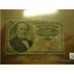 25 CENT US FRACTIONAL CURRENCY NOTE