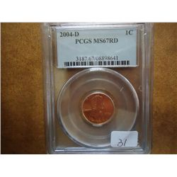 2004-D LINCOLN CENT PCGS MS67 RD