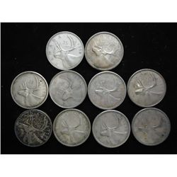 10 ASSORTED 1950'S CANADA SILVER 25 CENTS