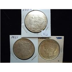 1884-O & 1921 MORGAN'S AND 1922 PEACE SILVER $'S