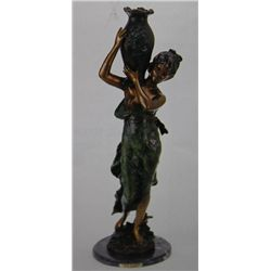 """Woman With Vessel"" Bronze Sculpture - A. Moreau"