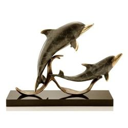 Double Dolphin Bronze Sculpture