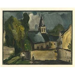 "Vlaminck ""Church At Bougival"" Lithograph"