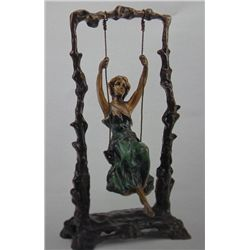 """Swing Girl"" Bronze  Sculpture - A.  Moreau -"