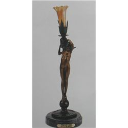 """Female Candlestick"" Bronze Sculpture Lamp - A. Moreau"