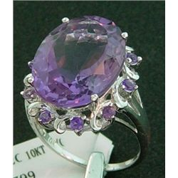 10.15 Ct Genuine Amethyst Ring In 10k White Gold