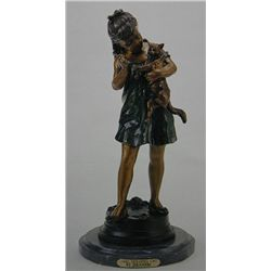 """Girl Holding Cat"" Bronze Sculpture - Jeranier"