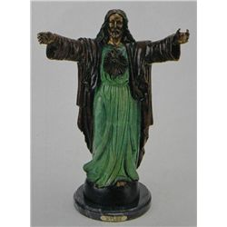 """Sacred Heart"" Bronze Sculpture - P. Dubois"