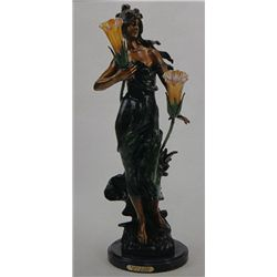 """Woman In Wind"" Bronze Sculpture Lamp - A. Moreau"