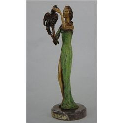 """Lady With Parrot"" Bronze Sculpture - Chiparus"