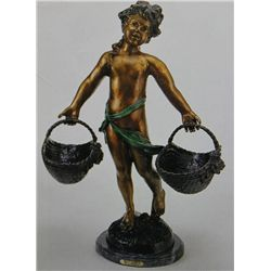 Heavy Basket  Bronze Sculpture - A.  Moreau