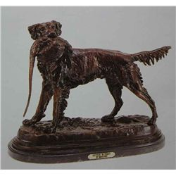 Setter With Bird  Bronze Sculpture - Moigniez