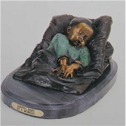 """Sleeping Baby"" Bronze Sculpture - A. Moreau -"