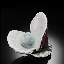 Art Glass Oyster Shell With Pearl