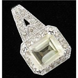 3 Ctw Citrine & Diamond Pendant 10kw