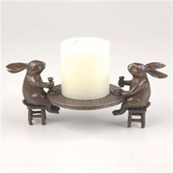 Dining Rabbits Pillar Candle Holder