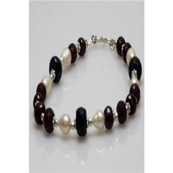 Natural 136.05ct Ruby,Pearl,Sapphire Bracelet .925 Ster