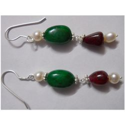 Natural 33.45ct Pearl/Emerald/Ruby Earring .925 Sterlin