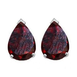 Natural 2.10 ctw Garnet Pear Earrings .925 Sterling