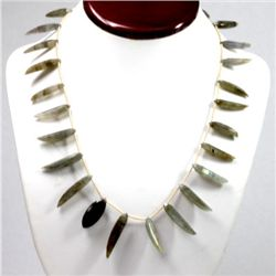 165.54 ctw Natural Black Laborite Beads Necklace