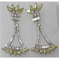Natural 10.93g CZ Earrings .925 Sterling Silver