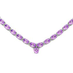 Natural Amethyst 51.25ctw Oval Necklace .925 Sterling