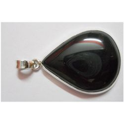 Natural 46.30 ctw Black Onex Pendant .925 Sterling