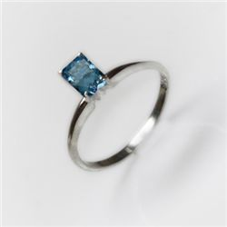 Natural 3.25 ctw Blue Topaz Emerald .925 Sterling Ring