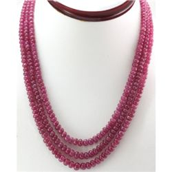 Natural Ruby Round  367.73 CTS. Beads Necklace w/brass