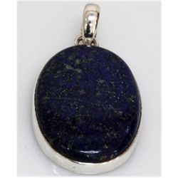 Natural 11.59 g Lapis Oval .925 Sterling Silver Pendant