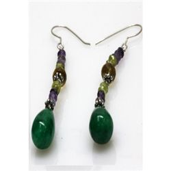 Natural 40.85ct Amethyst,Peridot,Emerald,Citrine Earrin
