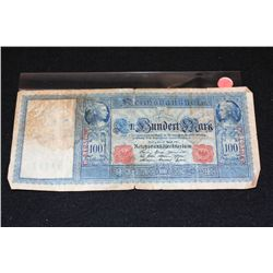 1910 German 100 FinBundert Mark Foreign Bank Note