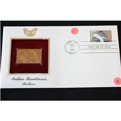 1990 First Day Issue 22K Gold Replica Stamp W/Postal Stamp; Indian Headdresses Shoshone