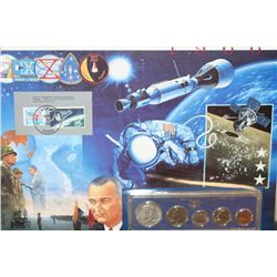 1966-P US Special Mint Coin Set Commerating Gemini 8 W/Postal Stamp Dated 1993