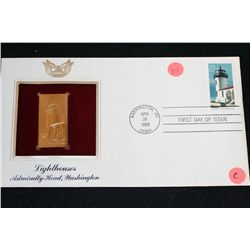 1990 First Day Issue 22K Gold Replica Stamp W/Postal Stamp; Lighthouses Admiralty Head Washington