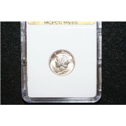 1945-D Mercury Dime; MCPCG Graded MS65