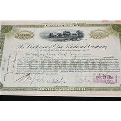 The Baltimore and Ohio Railroad Co. Stock Certificate Dated 1927