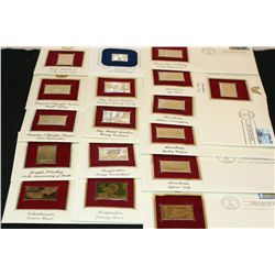 1983-1996 First Day Issue 22K Gold Replica Stamp W/Postal Stamp; Various Events; Lot of 17