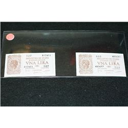 1944 Italy VNA Lira Foreign Bank Note; Lot of 2