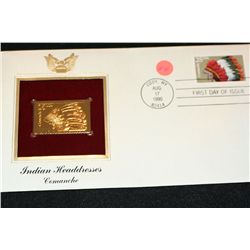 1990 First Day Issue 22K Gold Replica Stamp W/Postal Stamp; Indian Headdress Comanche