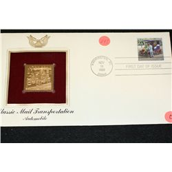 1989 First Day Issue 22K Gold Replica Stamp W/Postal Stamp; Classic Mail Transportation Automobile