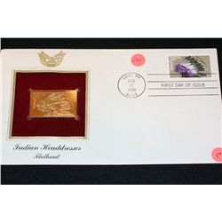 1990 First Day Issue 22K Gold Replica Stamp W/Postal Stamp; Indian Headdresses Flathead