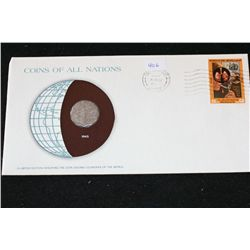 Iraq; Coins of All Nations W/Postal Stamp