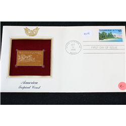 1990 First Day Issue 22K Gold Replica Stamp W/Postal Stamp; America Tropical Coast