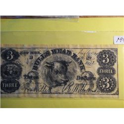1864 3 DOLLAR BULLSHEAD BANK NEW YORK